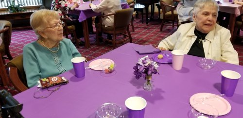 Enjoying good conversation at the Mother's Day Tea.