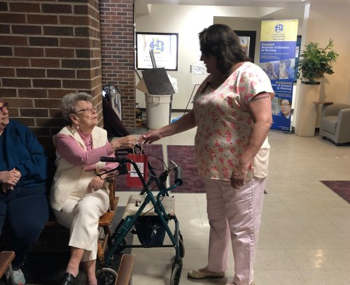 Residents had fun meeting some up and coming nurses at the Random Act Of Kindness give away.