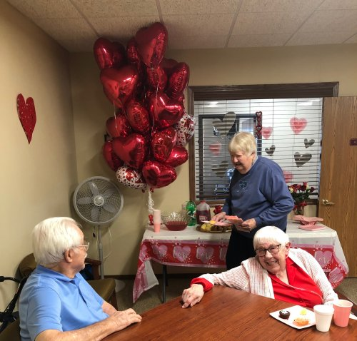 residents enjoying the Valentines party.
