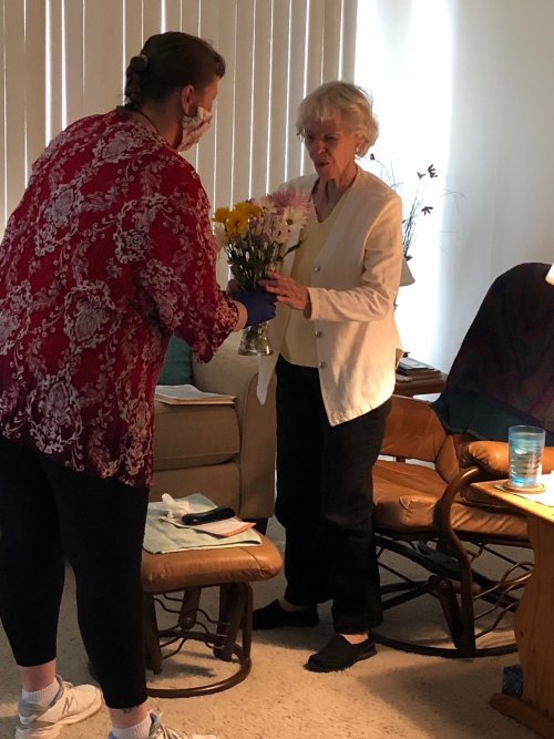 Every Resident was given a gift of flowers today from local Realtor Cody Brown.  Thank you Cody!  You made our day!