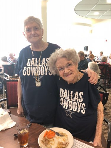 Good friends come to lunch wearing their matching Dallas Cowboys t-shirts!