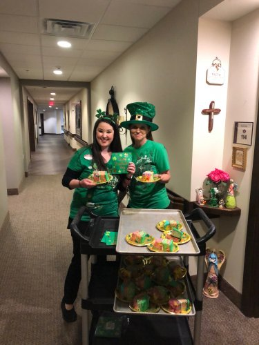 Primrose Staff and Residents celebrated Saint Patrick's Day by putting on green accessories from the rolling cart of fun and picking out which fun activity they wanted to do through-out the day. Residents were also served Guinness Stout Irish Stew and Rainbow Cake by their Primrose leprechaun staff!