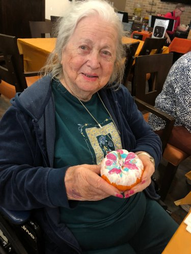 Pauline joined in the fun of Painting Pumpkins to decorate the Primrose Building for Fall!