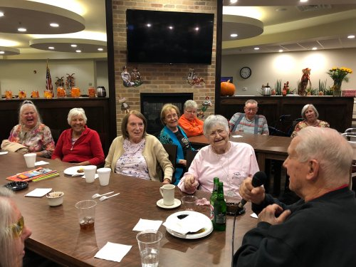 The Independent Living and Assisted Living residents of Primrose joined together for a special Oktoberfest Themed Happy Hour! It was filled with German appetizers, German drinks, Oktoberfest Trivia, Polka Music, and residents took turns sharing stories of times they have been to Germany!