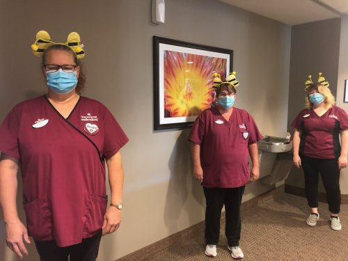 Our Housekeeping Team- Debbie, Barbara, and Alyssa wanted to bring fun again on a Monday by wearing Busy Bee Headbands because they are always buzzing around making our community sparkly and shine! We are so glad to have them!
