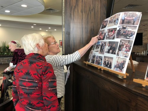 Residents celebrated the New Year together with a 'Noon Years Eve' lunch. Carol and Susan spent time viewing the display of photographs of all the activities, outings, and memories shared between Primrose staff and residents while at the lunch!