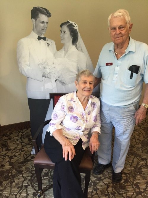 Lou and Marilyn celebrated their 67th Wedding Anniversary by sharing a life-size picture of their wedding day and cake for everyone!