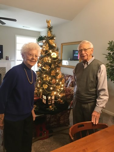 Our lovely villa couple, Len and Dawn have collected a golden ornament for over 60 years of being together for their Christmas Tree!