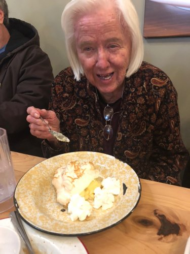 Helene could not help but smile when she was brought her Coconut Cream Pie at The Wooden Spoon in Gentry, Arkansas. Residents went out for a delicious home-cooked meal and a little road trip too!