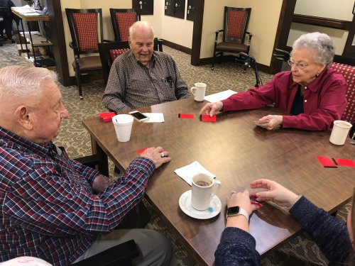 Lee, Ray, and Jean play a very fun card game called 99 with their nieces who came to visit with their newly born babies! Fun family day for all!