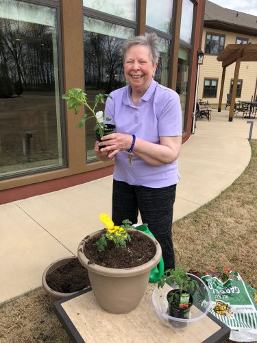 Zetta plants our first Primrose Tomato plants for this spring! Residents will have a fun time taking care of the beautiful flowers and yummy tomatoes!