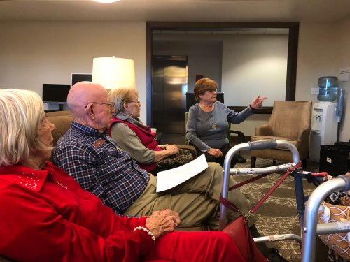 Residents spent the month of December reading the book Orphan Train for the Primrose Book Club. On Jan 13th, residents met to not only discuss the monthly book club book but to also learn how an Arkansas resident started a society to reunite orphans with their siblings who were train riders!