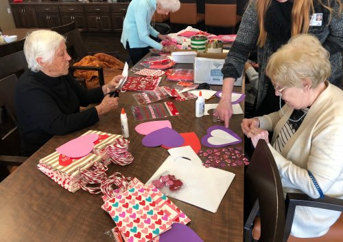 Joan, Carol, and Susan were hard at work making valentines and valentines bags for all residents to swap through-out February!