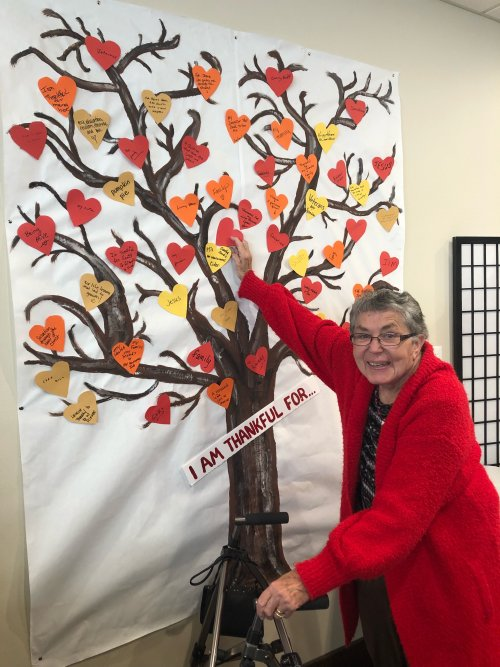 Lorraine is placing what she is thankful for on the Primrose Thankful Tree! Residents, Staff and their families can fill out what their heart is thankful for all through November to remember that there is so much to be thankful for especially having each other!
