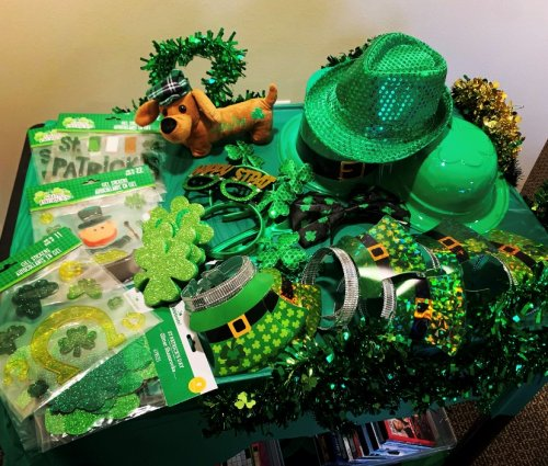 Nothing is going to stop Primrose from having a wee bit o' fun! LEC, Lindsay loaded up the  cart with Saint Patrick's accessories, games, word puzzle and coloring pages, fun irish jokes and music to bring the celebration to each resident and staff member!