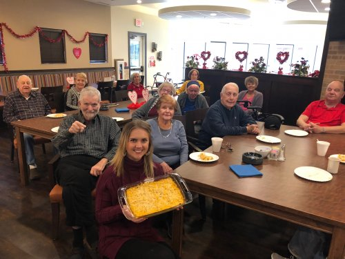 For February Adventure Travel Club, our awesome Admin Assistant, Melissa taught about her home state of Utah, their national parks, universities and their history! Melissa even brought a popular casserole dish that is brought to many Utah gatherings, Funeral Potatoes for all the residents to try!