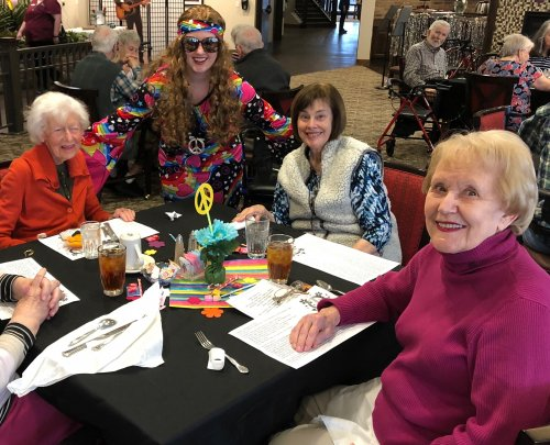 Primrose had a groovy 1960s Luncheon with Cheeseburger Loaf/Pineapple Upside Down Cake, far out tunes, and lots of fellowship! Residents have been reminiscing about the 1960s all during February with their Primrose Senior University classes!