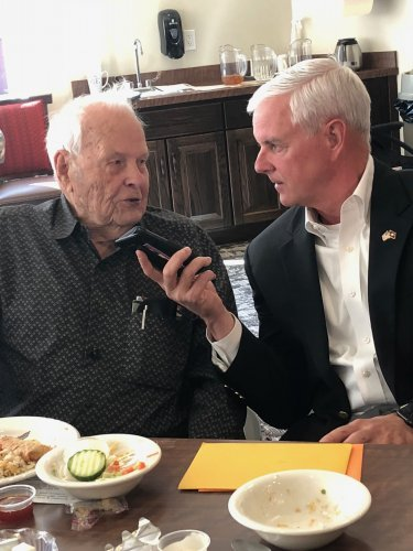 On Nov 4th, our very first resident to turn 100, Ray was greeted by Congressman Steve Womack who came to wish Ray a very happy birthday and thank him for his service. Steve asked all about Ray's life and lessons learned for the local news and radio!