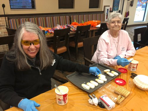 Rosemarie and Sarah made Ghost Cookies for all the residents and guests to enjoy at the Primrose Halloween Party!