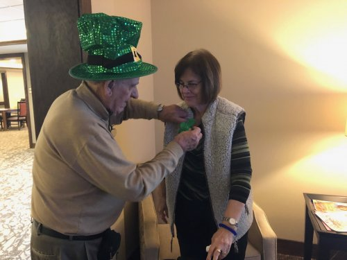 Walter and Susan spent Saint Patrick's Day pinning residents and staff with shamrocks pins and spreading holiday cheer. Residents and staff always feel better lifting one another up!
