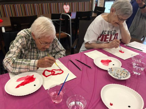 Friends that paint Valentine's Watercolor paintings on a rainy afternoon together.. stay together!