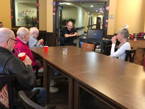 One of our Assisted Living residents, Walter taught about a variety of topics near to his heart during his weekly visit to our Memory Care Community and even shared rootbeer floats together!