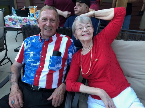 Paul and Madge kicking back with some watermelon and patriotic music as they wait for the Primrose fireworks show!