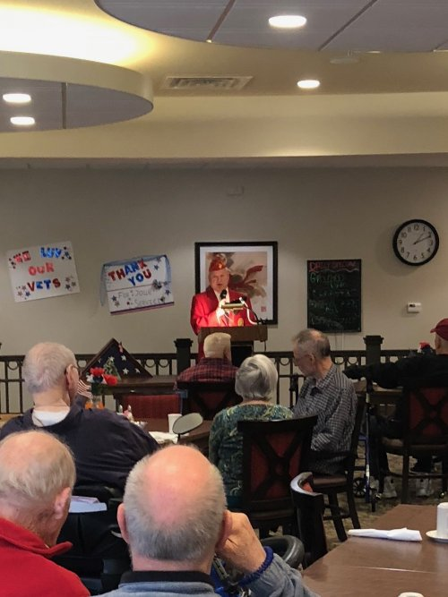 Our Primrose Veterans were honored on Veteran's Day by a heartfelt speech from local Marine, Lewis Kaslow, a presentation of the colors by the Rogers VFW, and each veteran received gifts and certificates created by their fellow residents!