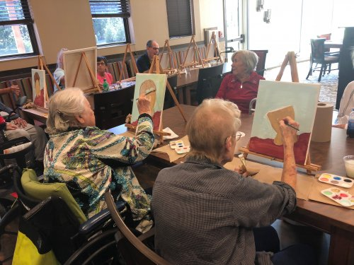 To celebrate National Assisted Living Week, 'A Spark of Creativity', residents joined in a fun painting class led by Primrose Bus Driver, Valerie. They painted cute scarecrows to get ready for the fall season ahead!