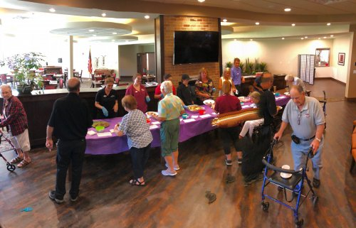 Primrose Residents attended the first staff bake off where residents tried many sweets made by staff and placed a dollar in the dessert bowl that was their favorite! All of the proceeds went to The Frank and Barbara Broyles Foundation for Alzheimer's Caregivers!