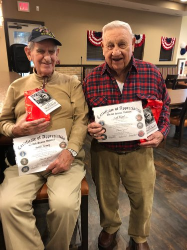 Two of our Primrose Veteran's, Walter and Lee were presented on Veteran's Day with gifts and certificates for their dedication and service to our country!