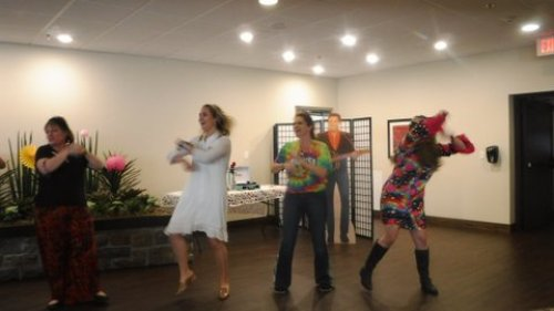 Primrose staff got down and groovy in a dance number during the 1960s luncheon! Peace, love and music were spread all through-out the dining room as residents dined on Cheeseburger loaf and pineapple upside down cake!
