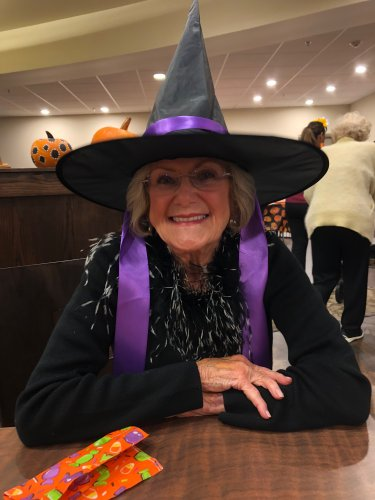 Francis came as a fabulous witch to the Primrose Halloween Party! Residents and their relatives enjoyed festive snacks, trick or treating from table to table, and a costume contest!