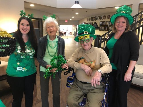 Saint Patrick's Day was celebrated by LEC, Lindsay wheeling a cart of fun Saint Patrick's accessories, Irish tunes, and lots of fun activities for the resident's choosing! No reason to stop the fun when it can be put on wheels!