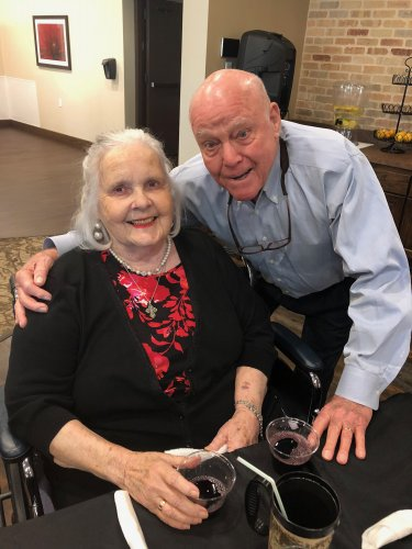 Bob and Jo Ruth share a sweet moment at the September Resident VIP Dinner. Residents were served Cornish Hen and Salmon by the leadership staff and were handed out hugs and roses all night long!