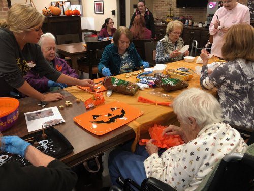 Primrose residents rolled up their sleeves and pitched in to make the sweet treats and decorations for the Halloween Party!