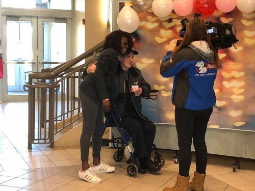 One of our residents, Walter was honoring Random Acts of Kindness Day by handing out goodybags to an Northwest Arkansas Community College student while the local news channel got to hear about how good it makes residents feel to interact and do something kind for their community!