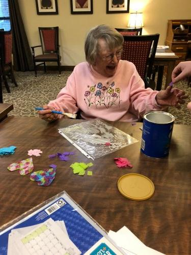 Judy had a fun time making Rainbow Heart Sun-catchers to place in the windows around the building to fill the rooms with color!