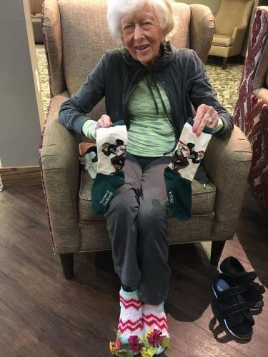Spirit Week Day #1 Crazy Sock Day! Joan rocked her crazy socks for the first Spirit Day and showed off her Norman Rockwell socks as well!