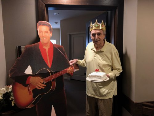 Jim felt like a King standing next to the King of Rock and Roll as Staff sang Happy Birthday and delivered a cake to celebrate his 80th Birthday!