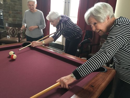 Primrose Villa ladies breaking in the new pool table in the Clubhouse!