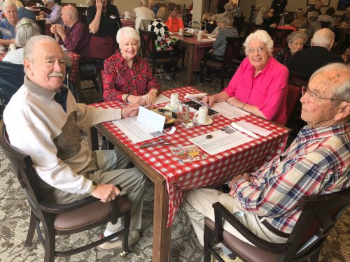 Residents celebrated the 25th Anniversary of the film, Forrest Gump with a triple shrimp seafood luncheon, boxes of chocolates, and a showing of the movie!
