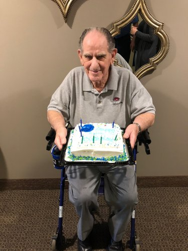 Walter was greeted by a whole hallway of Primrose Staff singing him Happy Birthday for his 94th Birthday!