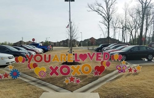 Thank you so much to NWA Yard Greetings for reminding our residents, staff, family and friends that they are so loved and thought of by the Northwest Arkansas community! The residents faces lit up when they saw this surprise in the front yard Thursday morning!