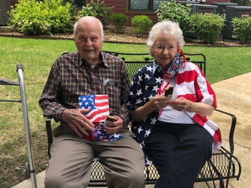 Ray and Jean showed up Red, White, and Blue Ready to hear our Activities Assistant, Kyle play Patriotic songs in the front yard for Memorial Day! Residents enjoyed ice cream sandwiches and sang along to songs of the armed forces! At 3pm, residents and staff took a moment of remembrance for all the soldiers who lost their lives in the service.