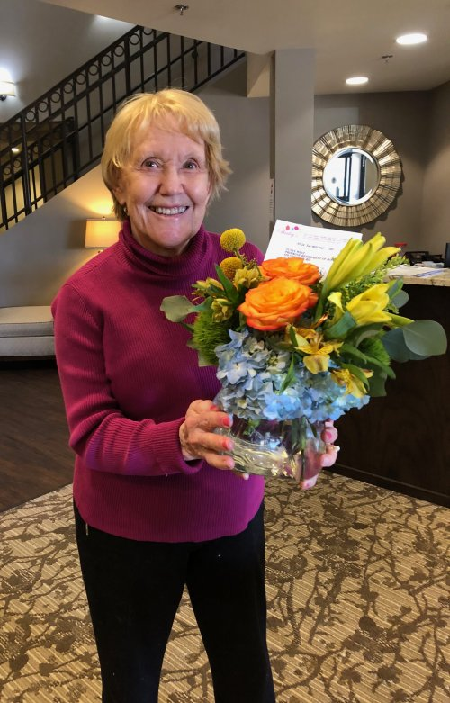 Thank you to all the families and friends who are continuing to show support and love for residents! Susan was so excited to receive flowers from her family!