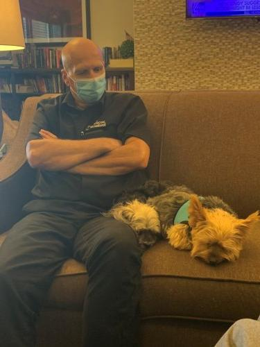 Our awesome Maintenance Tech, Jim brought his dogs, Kimber and Harley for Resident Pet Therapy. They gave so much loving to the residents they were exhausted!