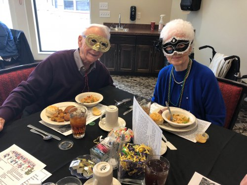 Resident's gathered together on Fat Tuesday for a Cajun themed meal- Gumbo, Crab Cakes, and King Cake. They listened to some New Orleans Zydeco Music and felt like they were traveling down Bourbon Street! Len and Dawn got in the spirit with their Mardi Gras masks!