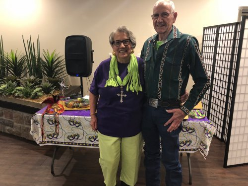 Resident's gathered together on Fat Tuesday for a Cajun themed meal- Gumbo, Crab Cakes, and King Cake. They listened to some New Orleans Zydeco Music and felt like they were traveling down Bourbon Street! Norma and Leroy wore Mardi Gras colors for the celebration!