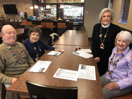Resident's gathered together on Fat Tuesday for a Cajun themed meal- Gumbo, Crab Cakes, and King Cake. They listened to some New Orleans Zydeco Music and felt like they were traveling down Bourbon Street! Len, Mary, Frances, and Gloria made sure to sport their Mardi Gras beads for the occasion!